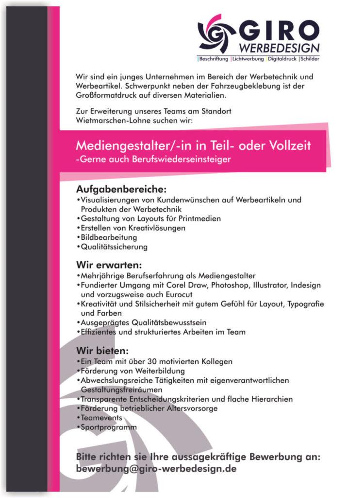 Stellenangebot Mediengestalter Nordhorn Lohne